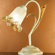 Traditional lily table light with amber glass flower shade