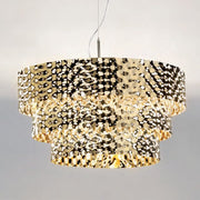 Modern Italian hammered metal pendant light in steel or  gold