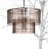 Chic modern Italian chandelier with bronze, black, clear, aubergine, or smoked grey glass