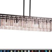 Chic modern wide gold or chrome Italian dining room chandelier with 7 colour choices