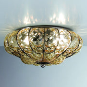 Amber Murano glass flush fitting ceiling light