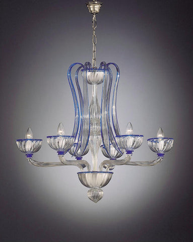 Murano 6 light clear glass chandelier with blue trim