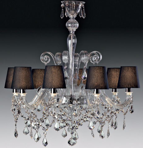 Clear red or black Murano chandelier with shades