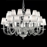 Clear Venetian glass chandelier with 2 tiers and 24 shades