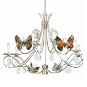 Silver Metal Chandelier with Glass Crystals & Butterflies