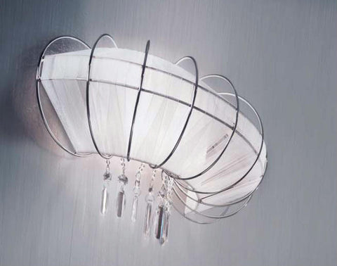 Modern white organza wall light with Swarovski crystals
