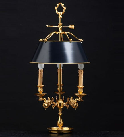 French Gold Table Light with Black Shade