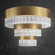 Spectacular modern ribbed Italian glass stairwell-style light with 7 metal finishes