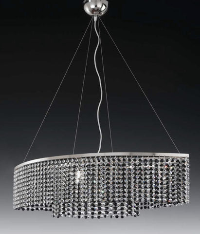 Oval Black Crystal Ceiling Pendant
