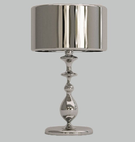 Modern silver-plated table light with Murano glass beads