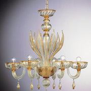 Murano clear glass chandelier with amber trim