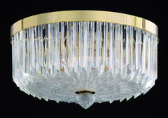Murano quadriedri prism flush light in 3 sizes with polished chrome or gold frame