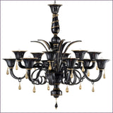 Dramatic black & gold Murano glass chandelier in 3 sizes