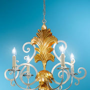Gold Leaf and Silver Leaf Iron Chandelier