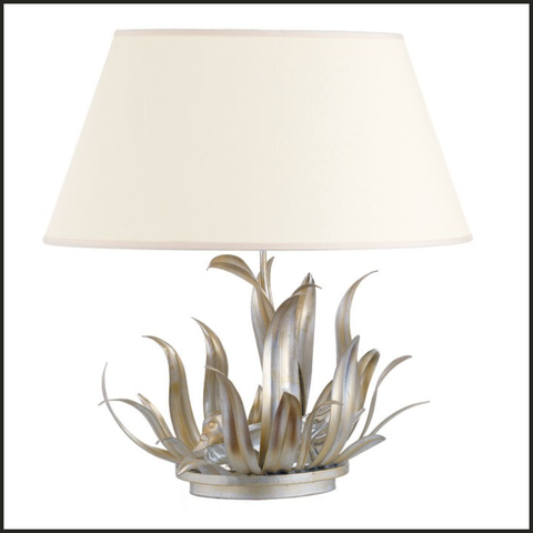 Duck table lamp with silver leaves