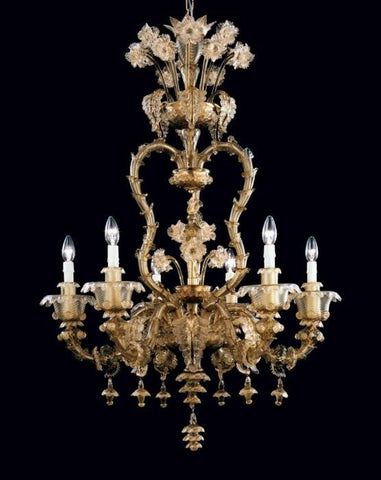Smoked glass Rezzonico style chandelier with 6 lights