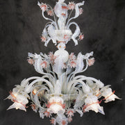 Opaline white and pink Murano glass pastoral chandelier