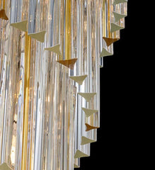Beautiful large modern mid-century chandelier with clear and amber Murano glass prisms