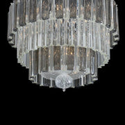 Elegant mid-century  Venetian chandelier with smoked and clear glass prisms
