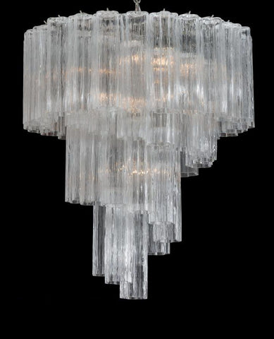 Mid-century  tronchi chandelier in Murano glass with chrome or gold spiral frame