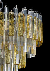 Elegant large mid-century chandelier with clear and amber Murano glass prisms