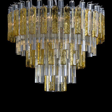 Large Amber Five Tiered Murano Glass Disc Chandelier by