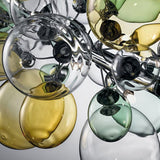 Modern ceiling light with yellow green and clear glass balloons