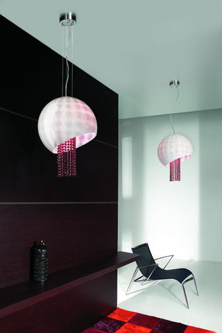 Italian ceiling pendant with Swarovski crystals in six colours
