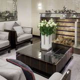 Glossy black wood and black Venetian glass coffee table