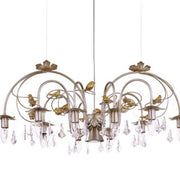 Glass Crystals & Gold Birds Chandelier in Silver Metal