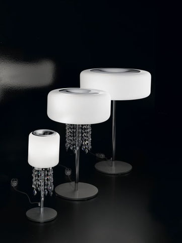 Small milk-white glass and Swarovski crystal table lamp