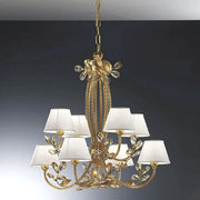 Light amber Scholer crystal chandelier with cream shades