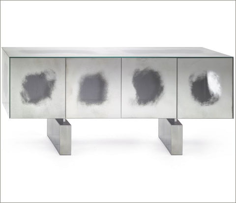 Clear mirrored Venetian sideboard with oak veneer