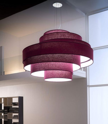 Huge fabric foyer pendant in five colours