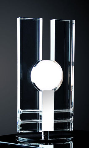 Large optical crystal and chrome table lamp