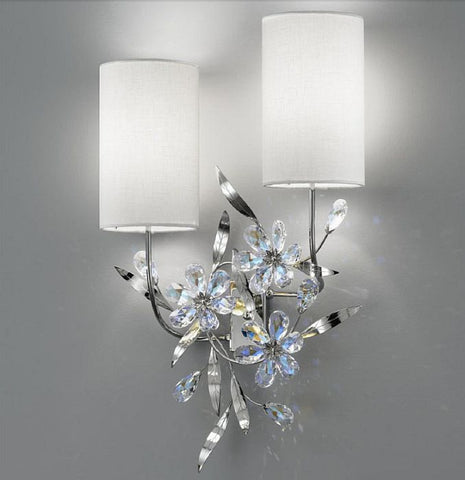 Scholer crystal flower wall light with white shades