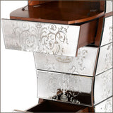 Curved Venetian mirror chest of drawers