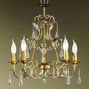 Pretty gold 5 light classic chandelier with crystal drops