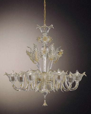Venetian clear glass 8 light floral chandelier