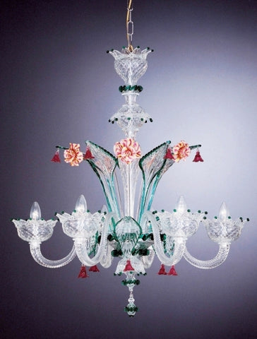 Multi-coloured Murano glass flower chandelier