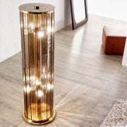 Luxurious amber venetian glass floor lamp with brass frame