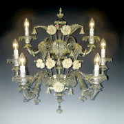 6 Light clear Murano glass wall chandelier with ceramic flowers