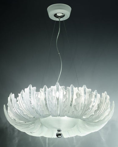 Etched Italian glass pendant light in 4 sizes