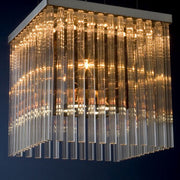 Modern clear & smoked glass rod suspended ceiling light