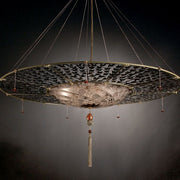 Murano glass Fortuny-style pendant light with metal disc