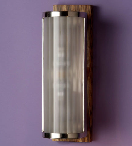 Chic contemporary glass and wood wall light with custom finishes