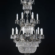 25 Light Silver Chandelier with Crystals