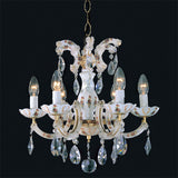 Opaline glass & crystal 6 light Maria Theresa chandelier
