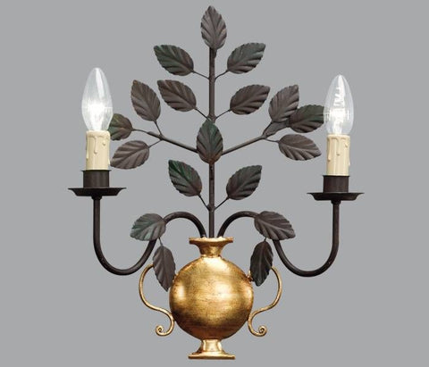 Vase Wall Light in Gold Metal with Black Leaf Design