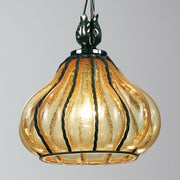 Antiqued amber Venetian glass ceiling lantern
